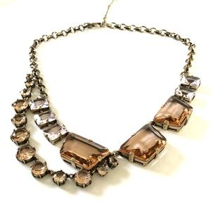 J. CREW amber glass stone statement necklace